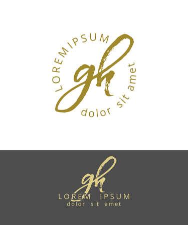 G H Initials Monogram Logo Design. Dry Brush Calligraphy