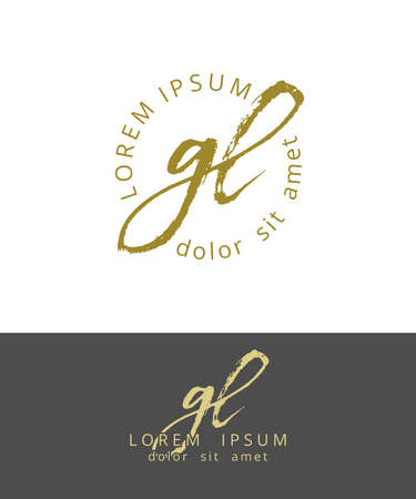 G L Initials Monogram Logo Design. Dry Brush Calligraphy