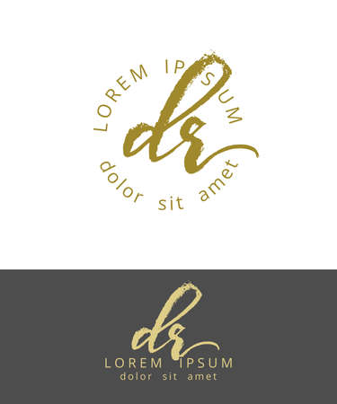 D R. Initials Monogram Logo Design. Dry Brush Calligraphy Artwork