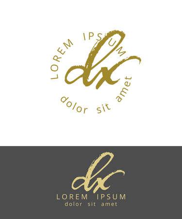D X. Initials Monogram Logo Design. Dry Brush Calligraphy Artwork