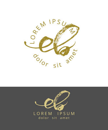 E B. Initials Monogram Logo Design. Dry Brush Calligraphy Artwork