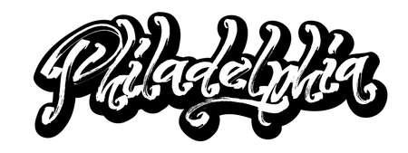 Philadelphia. Sticker. Modern Calligraphy Hand Lettering for Silk Screen Printing Illustration