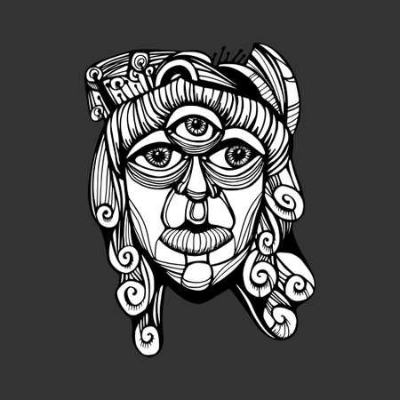 Three-eyed god Shiva. Psychedelic drawing. Imagination Drawing