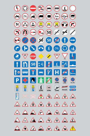 European Union Road Sign Full Set. Road signs used in European Union. Road signs for use in education and driving test. Ilustracje wektorowe