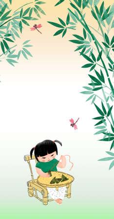 Dragon Boat Festival,little girl prepare zongzi
