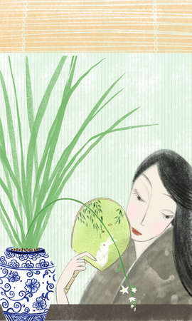Woman shaking fan under the bamboo curtain in summer