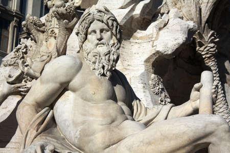 bernini: Statue of Bernini Fountain in Navona square  Rome - Italy  Stock Photo