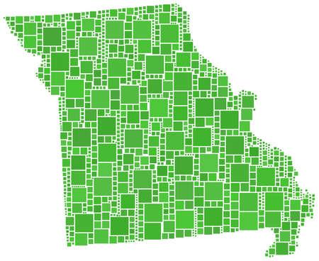 ミズーリ州 (アメリカ) の地図  イラスト・ベクター素材
