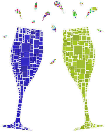 champagne glasses: Two flutes for a cheers Illustration