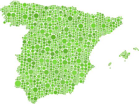 Kaart van Spanje. Mozaïek van 1903 cirkels