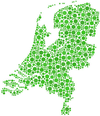 Map of Holland (Europe) in a mosaic of circles