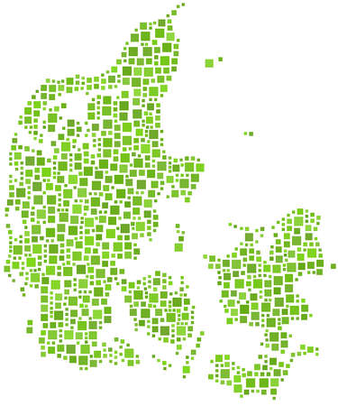 Map of Denmark (Europe) in mosaic of squares