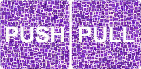 Push and Pull signs in a mosaic of squares