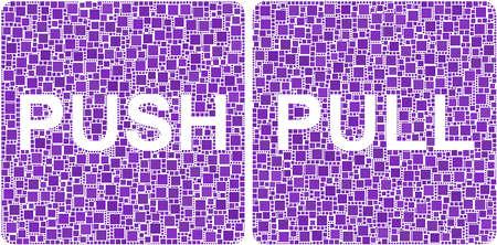 Push en Pull tekenen in een mozaïek van vierkanten