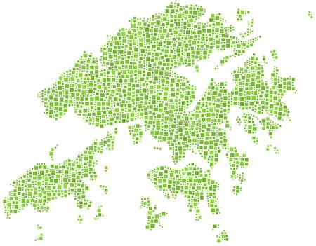 po: Map of Hong Kong in a mosaic of squares