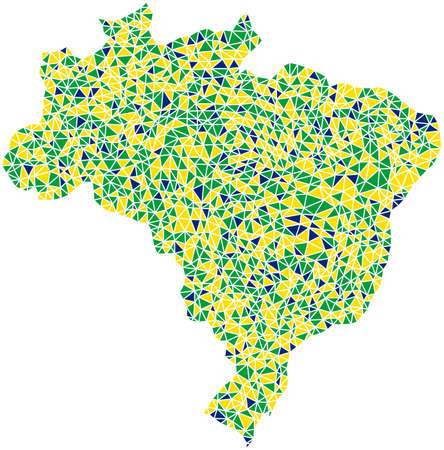brasil: Map of Brasil in a mosaic of triangles