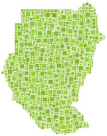 sudan: Map of Sudan (Africa) in a mosaic of  green squares