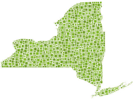 Map of New York State (USA) in a mosaic of green squares Vector