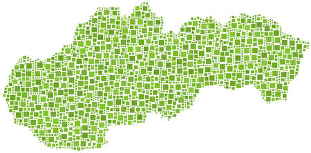 Map of Slovakia  in a mosaic of green squares Stock Vector - 12882936