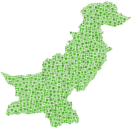 islamabad: Map of Pakistan in a mosaic of green squares