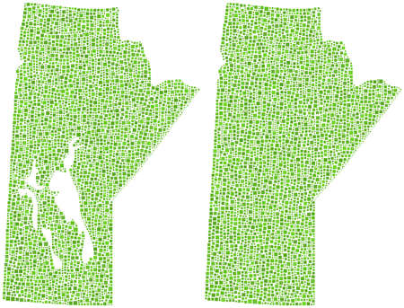 edmonton: Map of Manitoba - Canada - in a mosaic of green squares