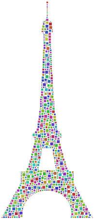 arlecchino: Un mosaico arlecchino della Torre Eiffel a Parigi