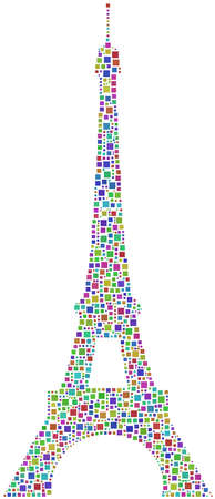 A harlequin mosaic of the Eiffel Tower in Paris