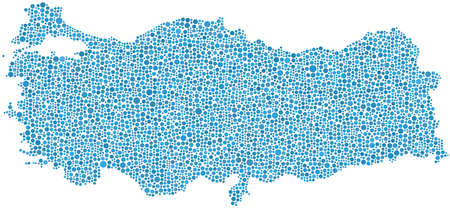 Map of Turkey - Europe - in a mosaic of blue cirlces