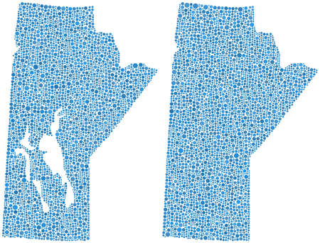 manitoba: Map of Manitoba - Canada - in a mosaic of blue circles