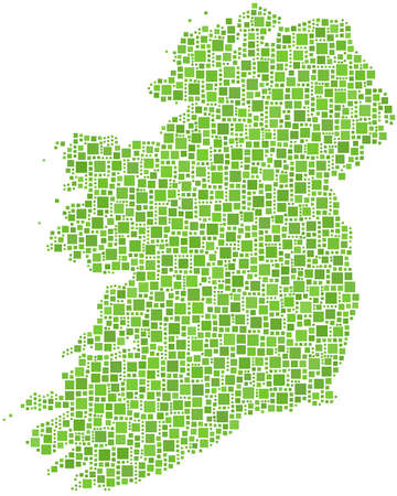 irish sea: Map of Ireland - Europe - in a mosaic of green squares Illustration