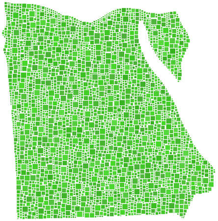 나일 강: 아프리카 - - 이집트의지도 녹색 사각형의 모자이크 일러스트