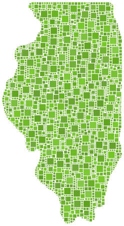 Illinois map - USA- in a mosaic of green squares Vector