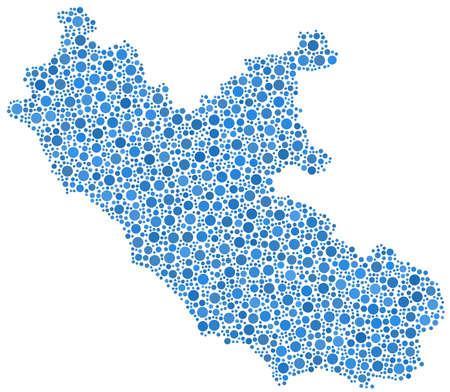 lazio: Map of Lazio - Italy - in a mosaic of blue circles Illustration