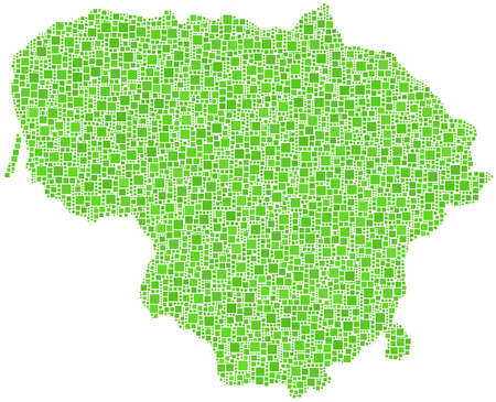 Map of Lithuania - Europe - in a mosaic of green square Stock Vector - 14523335