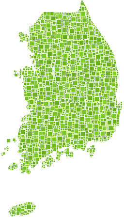 Map of South Korea - Asia - in a mosaic of green squares Vector