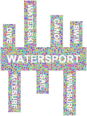 windsurf: Sport and Water keywords into a mosaic of coloured squares  Illustration