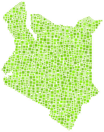 mara: Map of Kenya - Africa - in a mosaic of green squares Illustration
