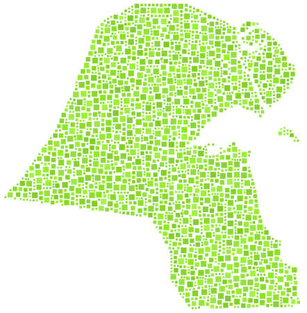 Map of Kuwait in a mosaic of green squares