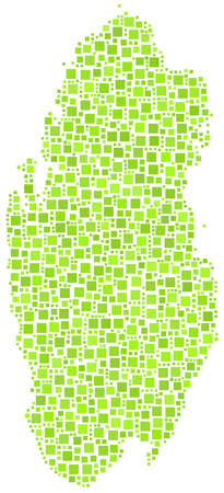 doha: Map of Qatar in a mosaic of green squares