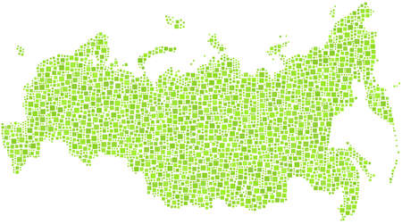 Map of Russia in a mosaic of green squares Vector