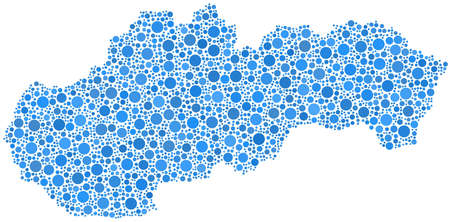 Map of Slovakia - Europe - in a mosaic of blue circles Stock Vector - 15599076
