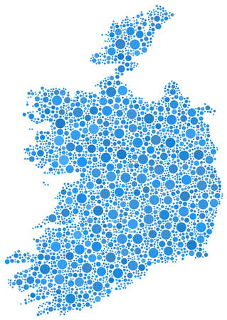 irish sea: Isolated map of Ireland - Europe - in a mosaic of blue circles Illustration