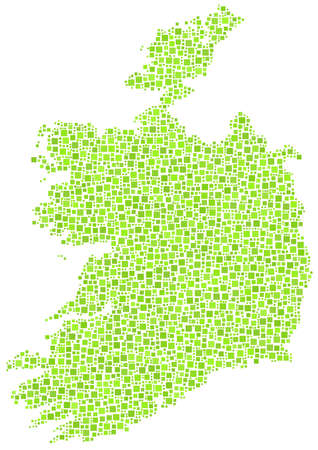 Map of Ireland - Europe - in a mosaic of green squares Stock Vector - 16672082