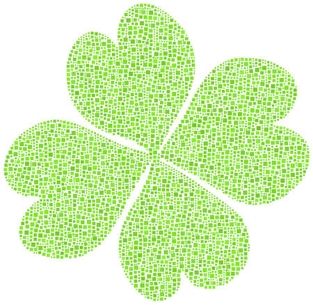 Four-leaf clover in a mosaic of green squares Stock Vector - 16708144