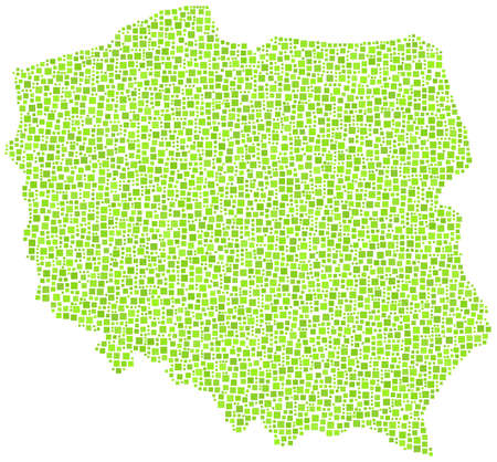 warsaw: Map of Poland - Europe - in a mosaic of green squares