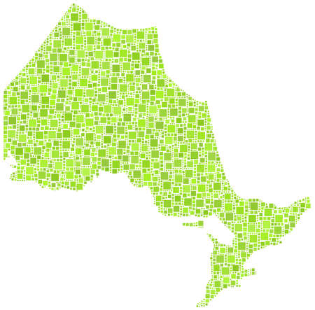 ontario: Map of Ontario - Canada - in a mosaic of green squares