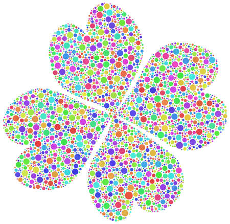 four leaved: Harlequin four leaf clover with mosaic tiles, white background