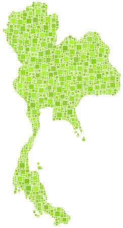 Map of Thailand - Asia - in a mosaic of green square Фото со стока - 17031371