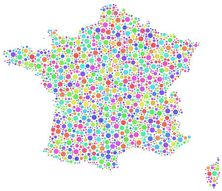 francaise: Decorative map of France - Europe - in a mosaic of harlequin circles Illustration
