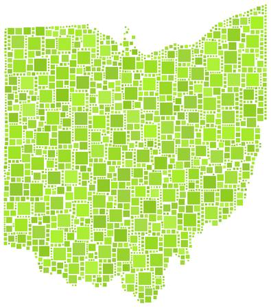 midwest: Map of Ohio - USA - in a mosaic of green squares